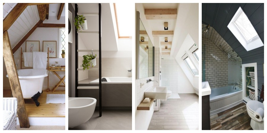 Koupelna v podkroví inspirace, fotogalerie