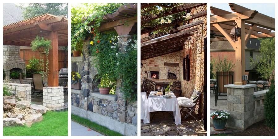 Zahradní kamenná pergola - inspirace, fotogalerie